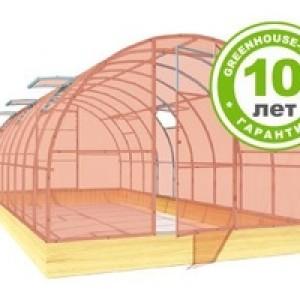 Теплица Двойная Дуга Цинк 6м (каркас+ поликарбонат agro GREENHOOSE-nano 4мм)